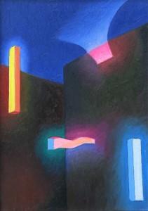 1985 La città olio su tela 50x35